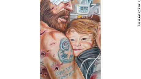 This illustration shows Dave embracing Davidson after surviving an attack in Afghanistan.