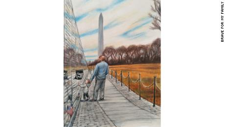 """""""My Dad brought me to the Washington, D.C. Vietnam Memorial Wall,"""" Davidson wrote in his book."""