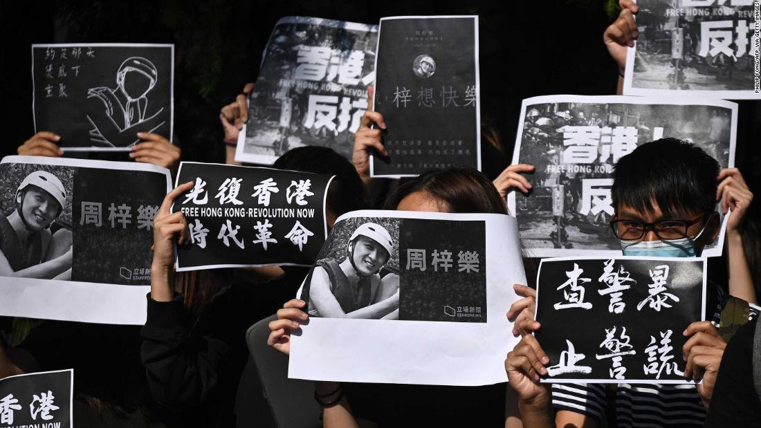 "Students of the Hong Kong University of Science and Technology (HKUST) participate in a march on November 8, after hospital officials confirmed the <a href =""https://edition.cnn.com/2019/11/07/asia/hong-kong-protester-death-intl-hnk/index.html"" target =""_blank&ampquott;>death of student Chow Tsz-lok</un>, 22. Police say Chow, a computer sciences student at HKUST, fell from the third floor to the second floor of a parking garage in the residential area of Tseung Kwan O in the early hours of November 4."