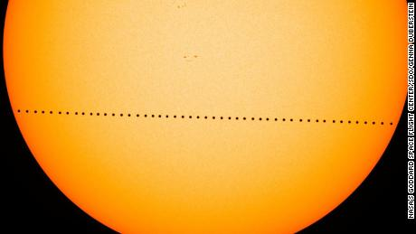 Mercury crosses the face of the sun