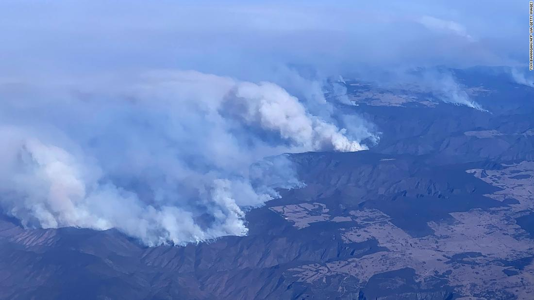 This aerial photo, taken on November 9, shows bushfires in the northeastern part New South Wales.