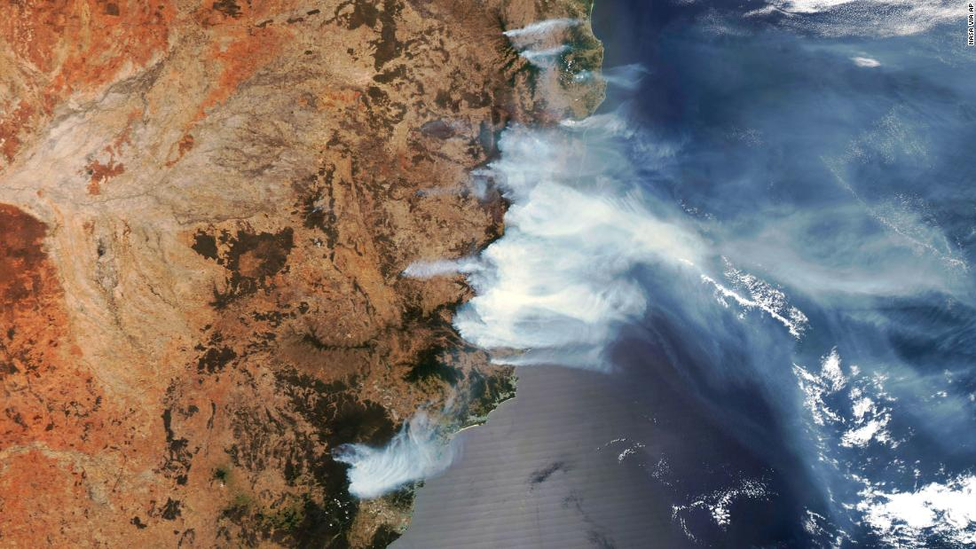 This satellite image shows wildfire smoke on November 14.