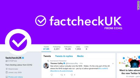 Twitter says UK PM's party misled public with 'factcheck' account