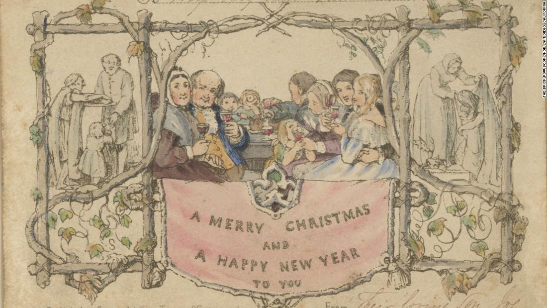 Sehen Sie die weltweit erste gedruckte weihnachtskarte