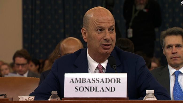 Gordon Sondland Testimony at House Impeachment Hearing