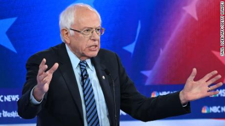 Democratic presidential hopeful Vermont Senator Bernie Sanders speaks during the fifth Democratic primary debate of the 2020 presidential campaign season co-hosted by MSNBC and The Washington Post at Tyler Perry Studios in Atlanta, Georgia on November 20, 2019. (Photo by SAUL LOEB / AFP) (Photo by SAUL LOEB/AFP via Getty Images)