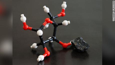 A model of the molecular structure of ribose, found in a meteorite.
