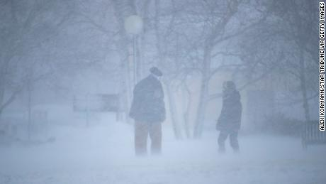 """Many roads in Duluth, Minnesota, seen here Saturday, are """"extremely treacherous,"""" the National Weather Service says."""