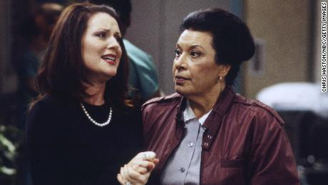 Megan Mullally as Karen Walker and Shelley Morrison as Rosario Salazar in an episode of Will and Grace in 2000.
