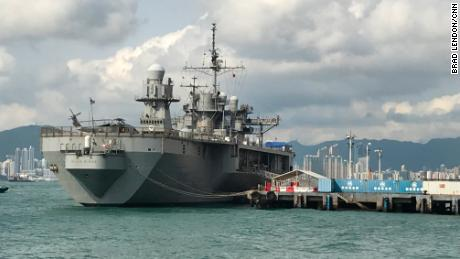 The USS Blue Ridge, the flagship of the US Navy's 7th Fleet, makes a port call in Hong Kong in April 2019.