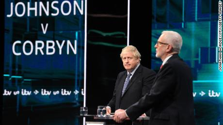 Johnson and Corbyn in a TV debate.