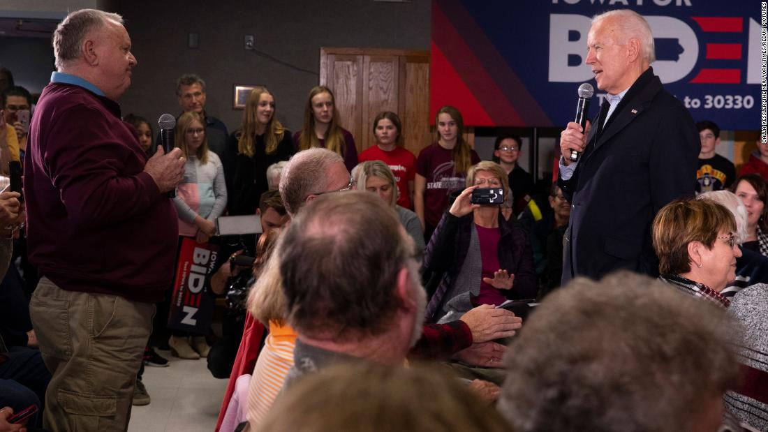 "Biden is questioned about his son Hunter during a campaign stop in New Hampton, Iowa, in December 2019. Biden grew visibly frustrated with the man, <a href=""https://www.cnn.com/2019/12/05/politics/joe-biden-damn-liar-exchange/index.html"" target=""_blank"">calling him a ""damn liar""</a> after the man accused Biden of sending his son to Ukraine ""to get a job and work for a gas company, that he had no experience with gas, nothing."" Hunter Biden served on the board of a Ukrainian gas company while his father was vice president. He said recently he used ""poor judgment"" in serving on the board of the company while his father was pushing anti-corruption measures in Ukraine on behalf of the US government, but he added that he didn't do anything improper. There is no evidence of wrongdoing by either Joe or Hunter Biden."
