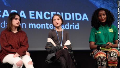 Swedish climate activist Greta Thunberg speaks in Madrid on December 6.