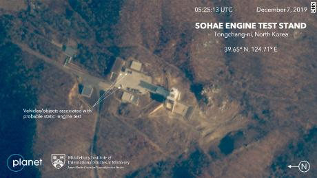 Commercial satellite images of a site in North Korea before a suspected engine test may have recently occurred.