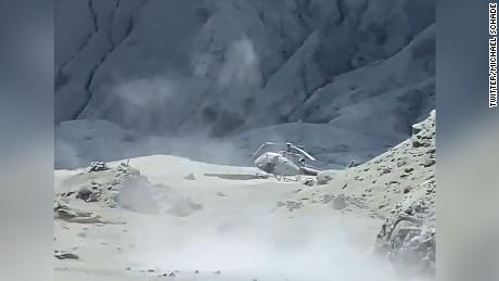 An image of a damaged helicopter on White Island after the eruption on Monday.