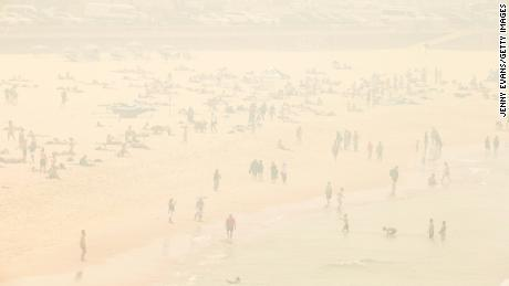 Haze from the bushfires is seen over Sydney's Bondi Beach on December 10, 2019.