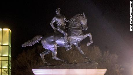 Kehinde Wiley's statue, Rumors of War, is pictured during an unveiling ceremony at the Virginia Museum of Fine Arts.