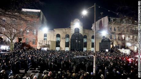 Thousands of Orthodox Jewish men crowded Rodney Street in Williamsburg, Brooklyn.