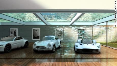 A rendering of an in-home car gallery, as imagined by designers at Aston Martin.