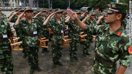 New recruits of Chinese People's Armed Police Force, which is controlled by the People's Liberation Army, received training in Shenzhen.