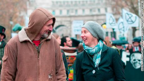 Gail Bradbrook and Roger Hallam at an Extinction Rebellion march in 2018.