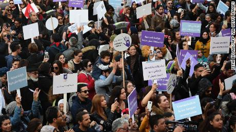Tunisians rally against sexual harrasment in the capital Tunis on November 30, 2019.