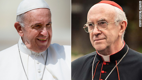 Pope Francis, left, and Welsh actor Jonathan Pryce.