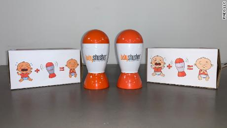 A counterfeit Baby Shusher product (left) next to the genuine article (right).