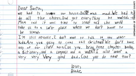 Child's heartbreaking letter to Santa after fleeing abusive father
