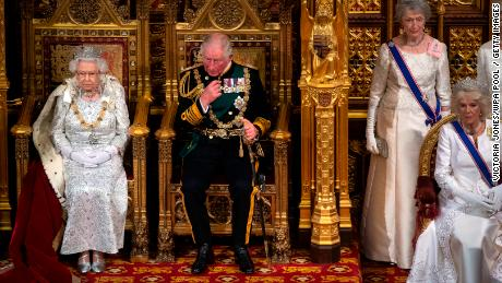 Queen Elizabeth II, Prince Charles, Prince of Wales and Camilla, Duchess of Cornwall attend the State Opening of Parliament on October 14.