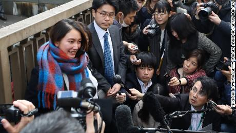 Shiori Ito speaks to the media in front of the Tokyo District Court on December 18, 2019 in Tokyo, Japan.