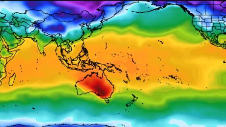 Heat wave-choked Australia sticks out like a sore thumb in a map of world weather