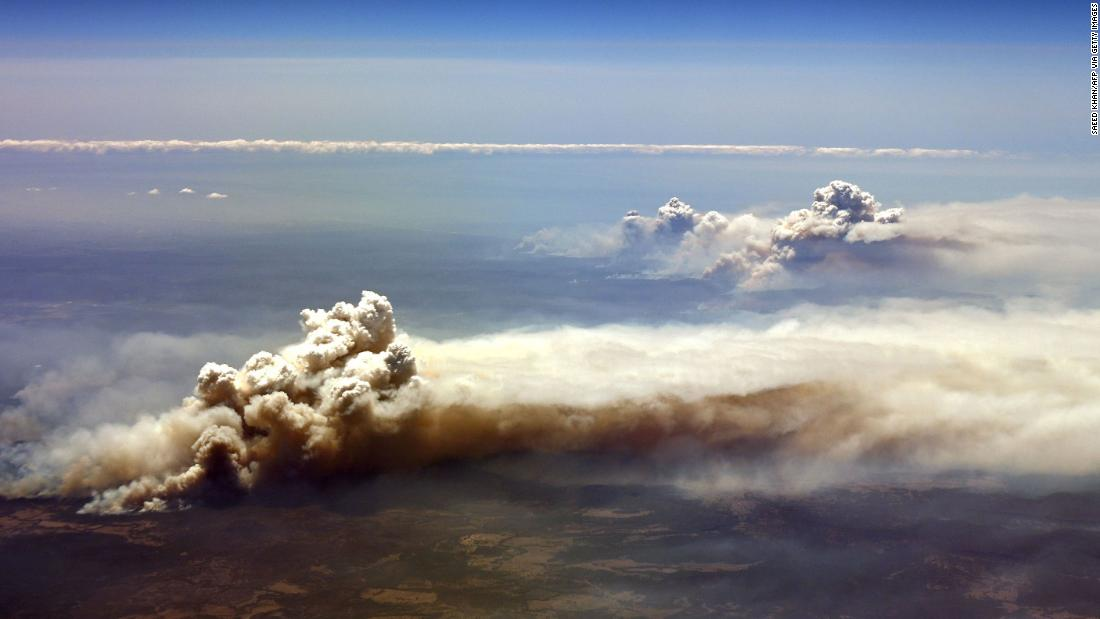An aerial view shows bushfires burning in the Richmond Valley on November 26.