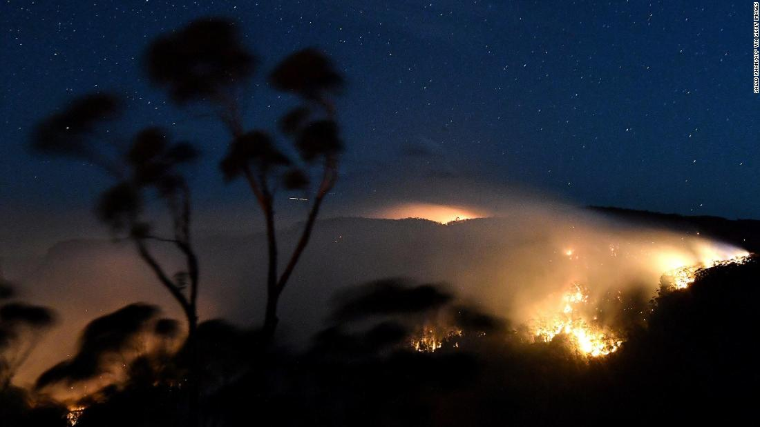 A bushfire burns out of control in the Blue Mountains of New South Wales on December 2,