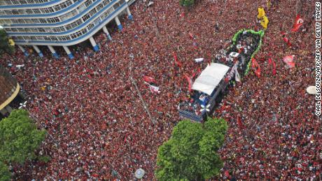 Flamengo fans flood the streets of Rio de Janeiro to celebrate the Copa Libertadores win.