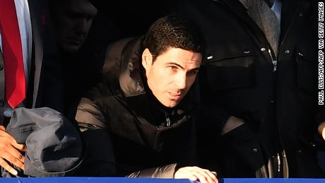 Mikal Arteta looks on from the director's box as Arsenal took on Everton at Goodison Park.