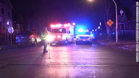 Police respond to a shooting on S. May St. in Chicago early Sunday morning.