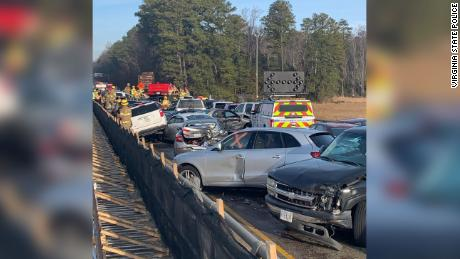 Fog, ice cause 35-plus auto pileup on Virginia highway