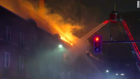 Francis Drake Hotel apartment building on fire in downtown Minneapolis