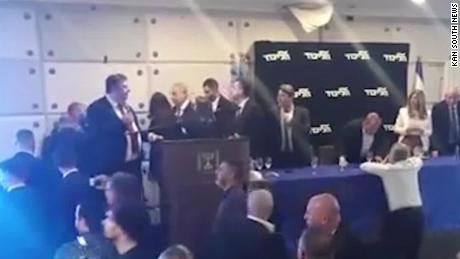 Benjamin Netanyahu rushed offstage as rocket fired from Gaza into Israel