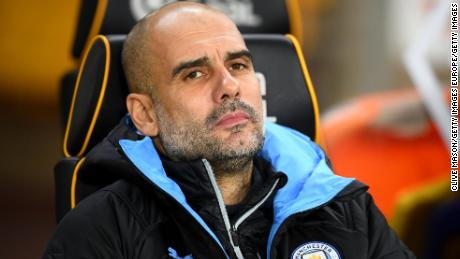 Manchester City manager Pep Guardiola saw his team blow a two-goal lead Friday.