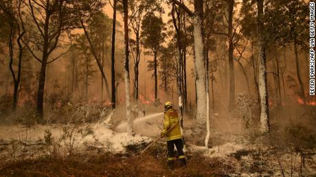 A firefighter in the New South Wales town of Jerrawangala on January 1, 2020.