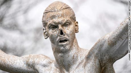 Vandals previously cut off the statue's nose.