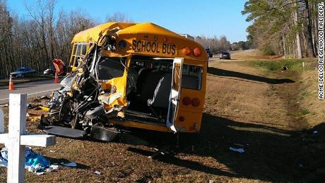 The bus rolled three times before coming to rest alongside US Route 74/76.