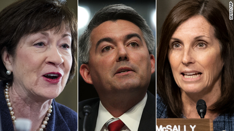 Three of the most vulnerable senators in 2020 are Susan Collins of Maine (left), Cory Gardner of Colorado (center) and Martha McSally of Arizona (right).