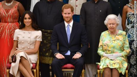 The Queen with Harry and Meghan in 2018. The couple spoke glowingly of the monarch, but admitted their relationship with other royals was fraught.