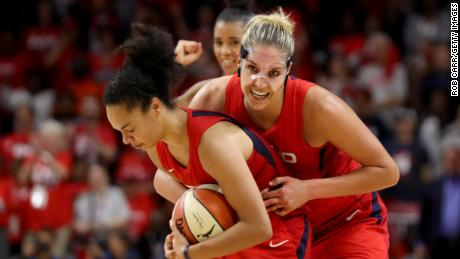 Two-time MVP Elena Delle Donne, right, and Kristi Toliver celebrate during Game 5 of the WNBA Finals in October.
