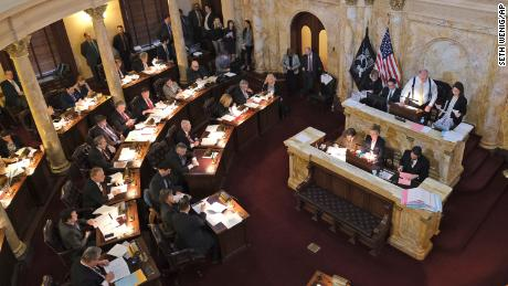 The New Jersey Senate conducting business on January 13, 2020 - the day lawmakers agreed to table a vote on legislation to eliminate most religious exemptions for vaccines.