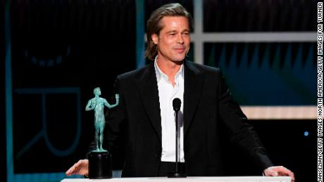 Brad Pitt accepts the SAG Award for outstanding performance by a male actor in a supporting role for 'Once Upon a Time in Hollywood' in January. (Photo by Kevork Djansezian/Getty Images for Turner)