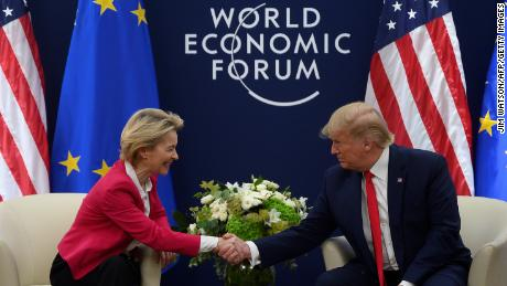 Ursula von der Leyen meeting then-US President Donald Trump at the World Economic Forum in Davos, Switzerland, in January 2020.